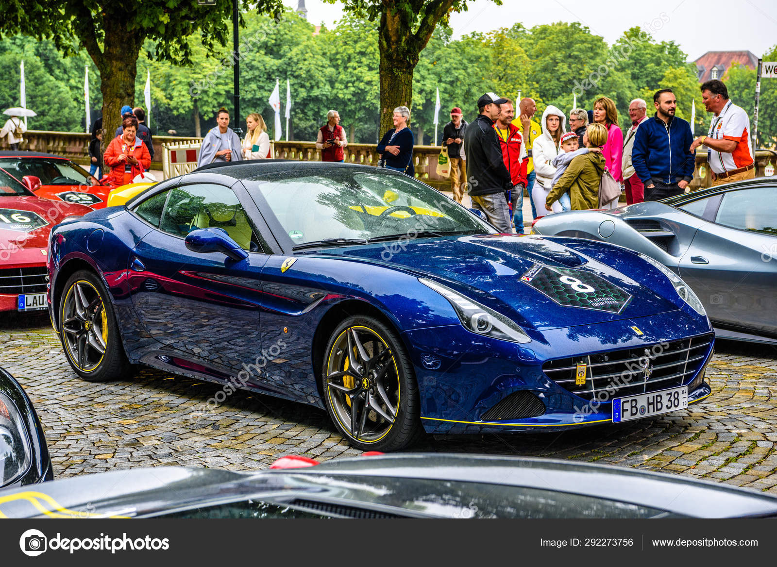 Germany Fulda Jul 2019 Dark Blue Ferrari California Type F149 Coupe Is A Grand Touring Sports Car Produced By The Italian Automotive Manufacturer Ferrari It Is A Two Door Hard Top Convertible