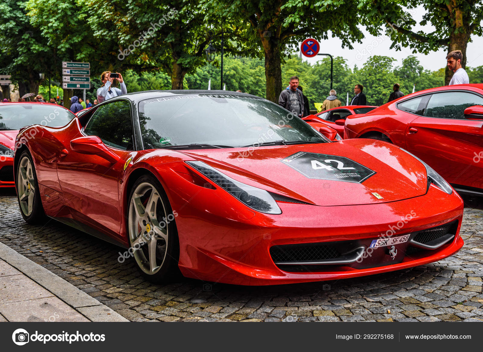 GERMANY, FULDA , JUL 2019 red FERRARI 458 SPIDER coupe was