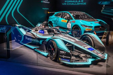 FRANKFURT, GERMANY - SEPT 2019: azure blue black JAGUAR FORMULA E electric racing car, IAA International Motor Show Auto Exhibtion