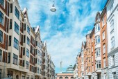 Photo urban scene with beautiful architecture of copenhagen and cloudy sky, denmark