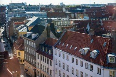COPENHAGEN, DENMARK - MAY 6, 2018: aerial view of beautiful architecture of copenhagen, denmark stock vector