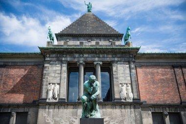 COPENHAGEN, DENMARK - MAY 5, 2018: urban scene with beautiful Ny Carlsberg Glyptotek art museum in copenhagen, denmark stock vector