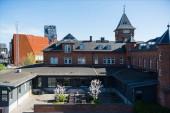 moderní architektura a útulný dvůr s lavičkami a kvetoucí stromy, Kodaň, Dánsko