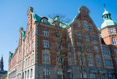 Urban scene with beautiful building in copenhagen, denmark stock vector
