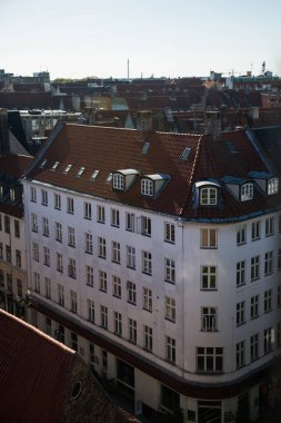 aerial view of beautiful cityscape of copenhagen with houses and rooftops