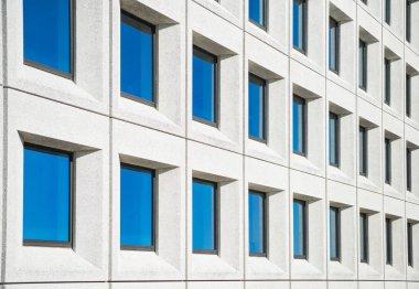 Full frame view of modern white house with blue windows in copenhagen, denmark stock vector