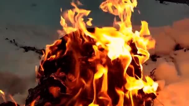 Slow motion fire  Fireplace burning