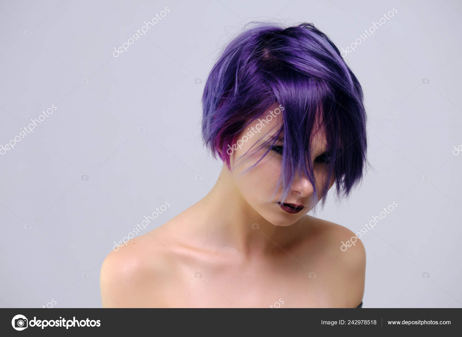 Pics Purple Hair Highlights Beautiful Sexy Girl Purple