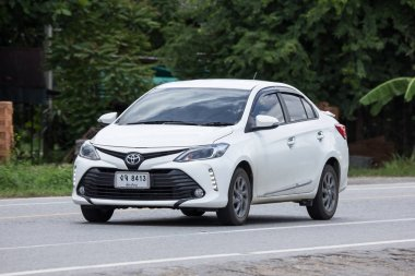 Chiangmai, Thailand - July  13 2018: Private Sedan car Toyota Vios. On road no.1001 8 km from Chiangmai Business Area.