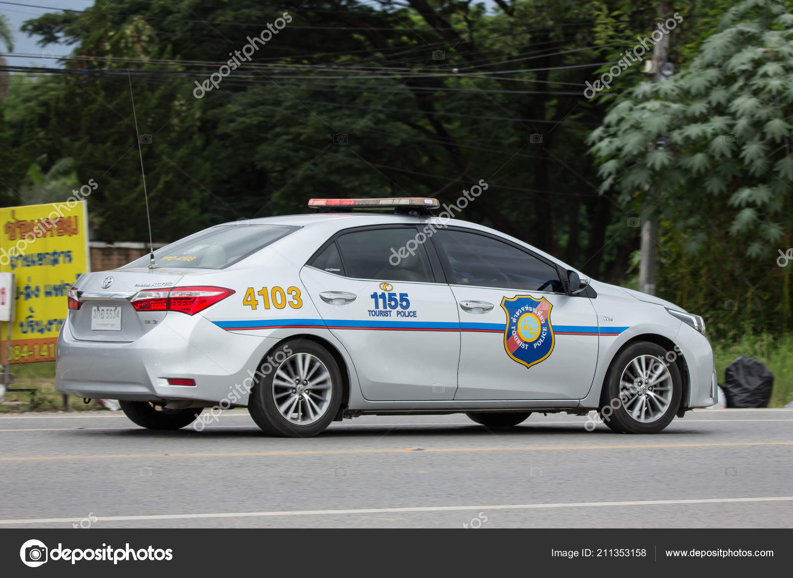 Chiangmai Thailand August 2018 Police Car Tourist Police