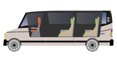 Passenger Van car, Show seat inside car Vector and Illustration