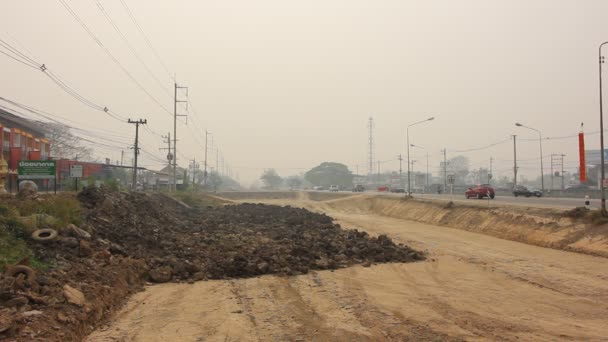 Chiangmai, Thailand - March 15 2019: Smoke and Pollution Haze on highway Chiangmai road.