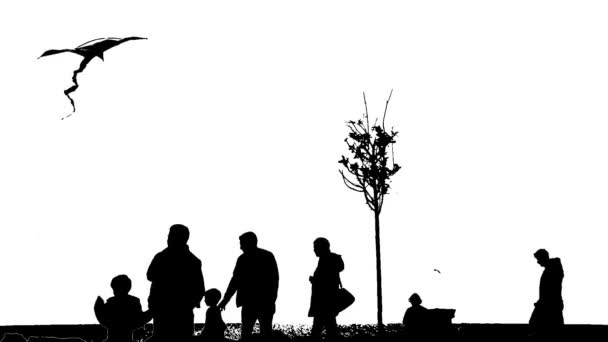 black and white Silhouettes Of People On The Move near to the seaside
