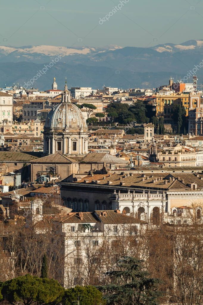 The view of the capital city from one of the Seven hills of Rome, Janiculum, Rome, Italy