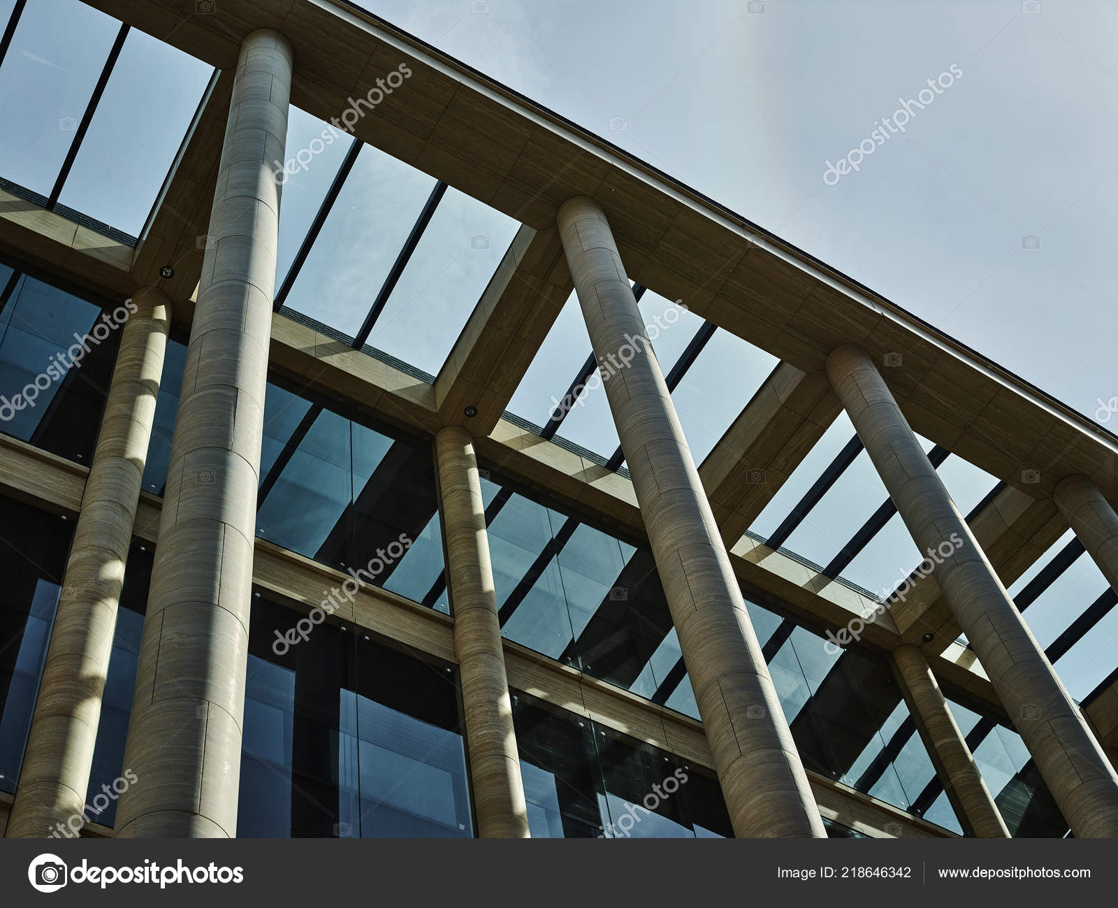 Glass Roof House Design Shot Modern Architectural Building Glass Roof Stone Pillars Design Stock Photo C Main Comebackimages Com 218646342