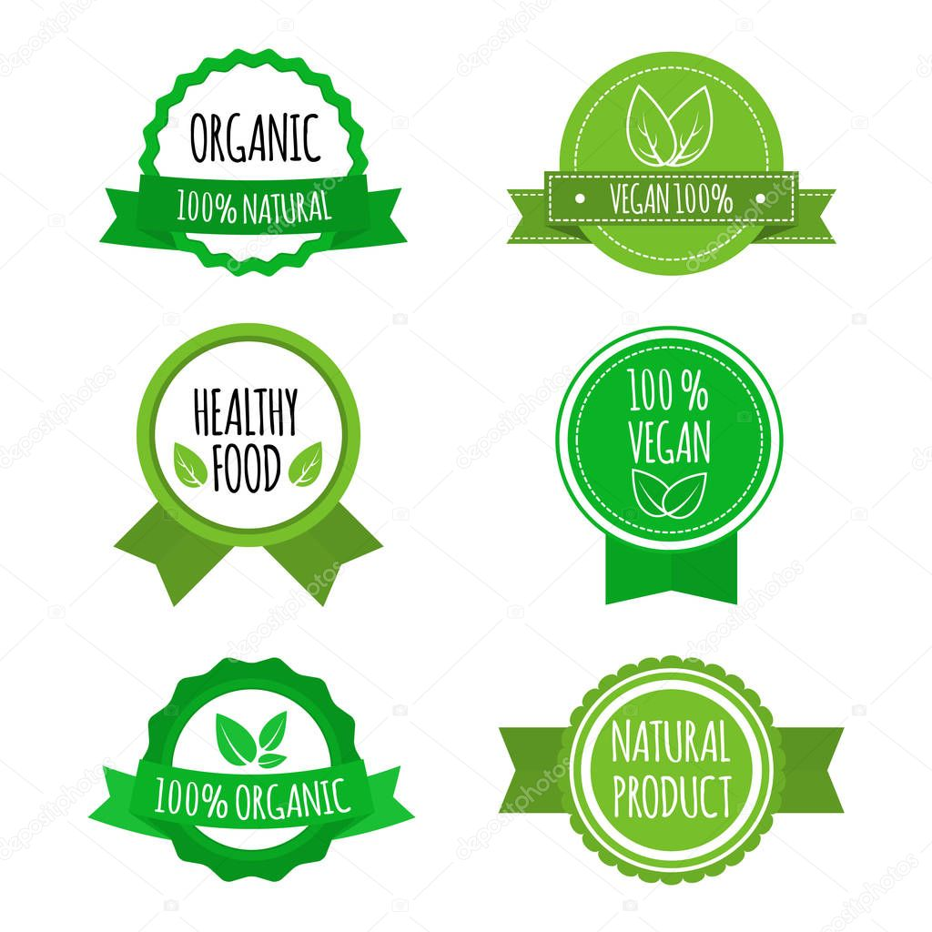 Set of vegan badges, icons, labels. Organic, healthy food logos for cafe restaurants products packaging. Vector illustration.