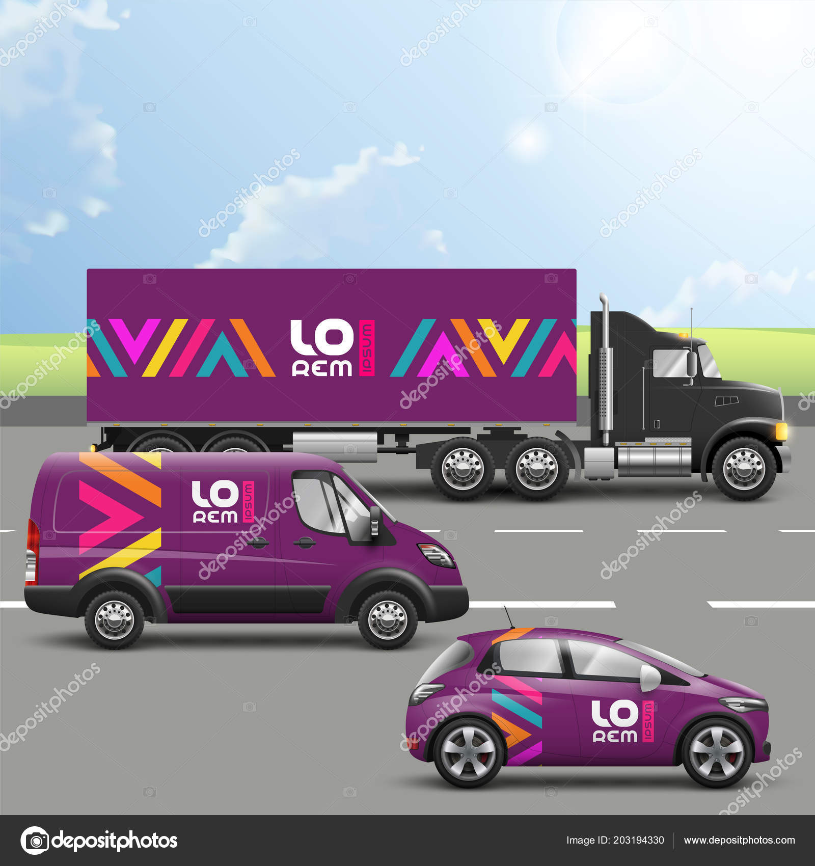 purple transport advertising design color geometric elements
