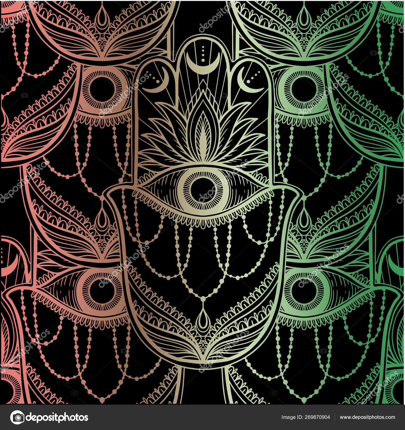 Seamless pattern hamsa talisman religion Asian  Gold color