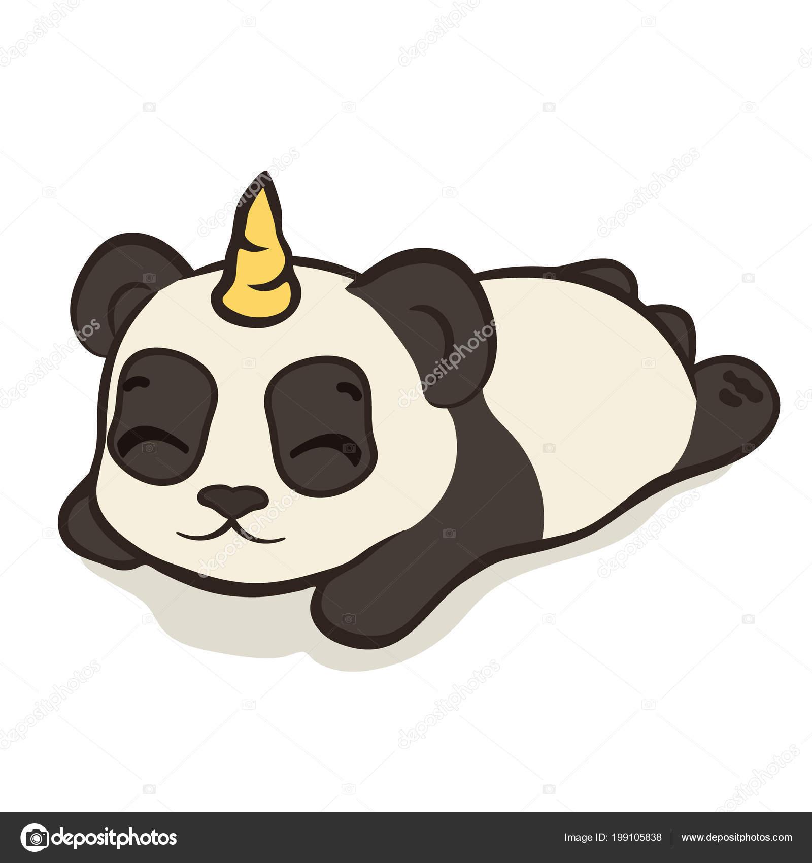 df283e3d4894f2 Niedlicher Panda Bär Charakter Mit Einhorn Horn Isoliert Schlafende Panda —  Stockvektor