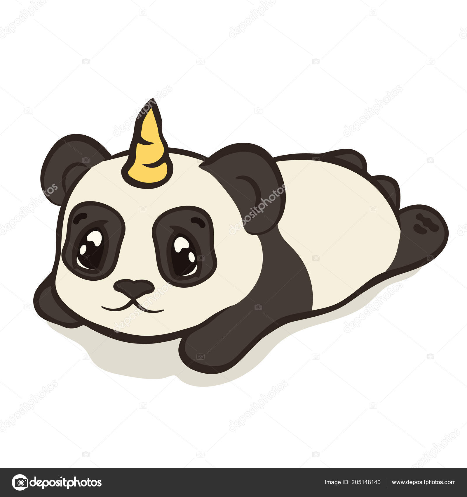 Cute Panda Bear Character Unicorn Horn Isolated Sleeping Panda