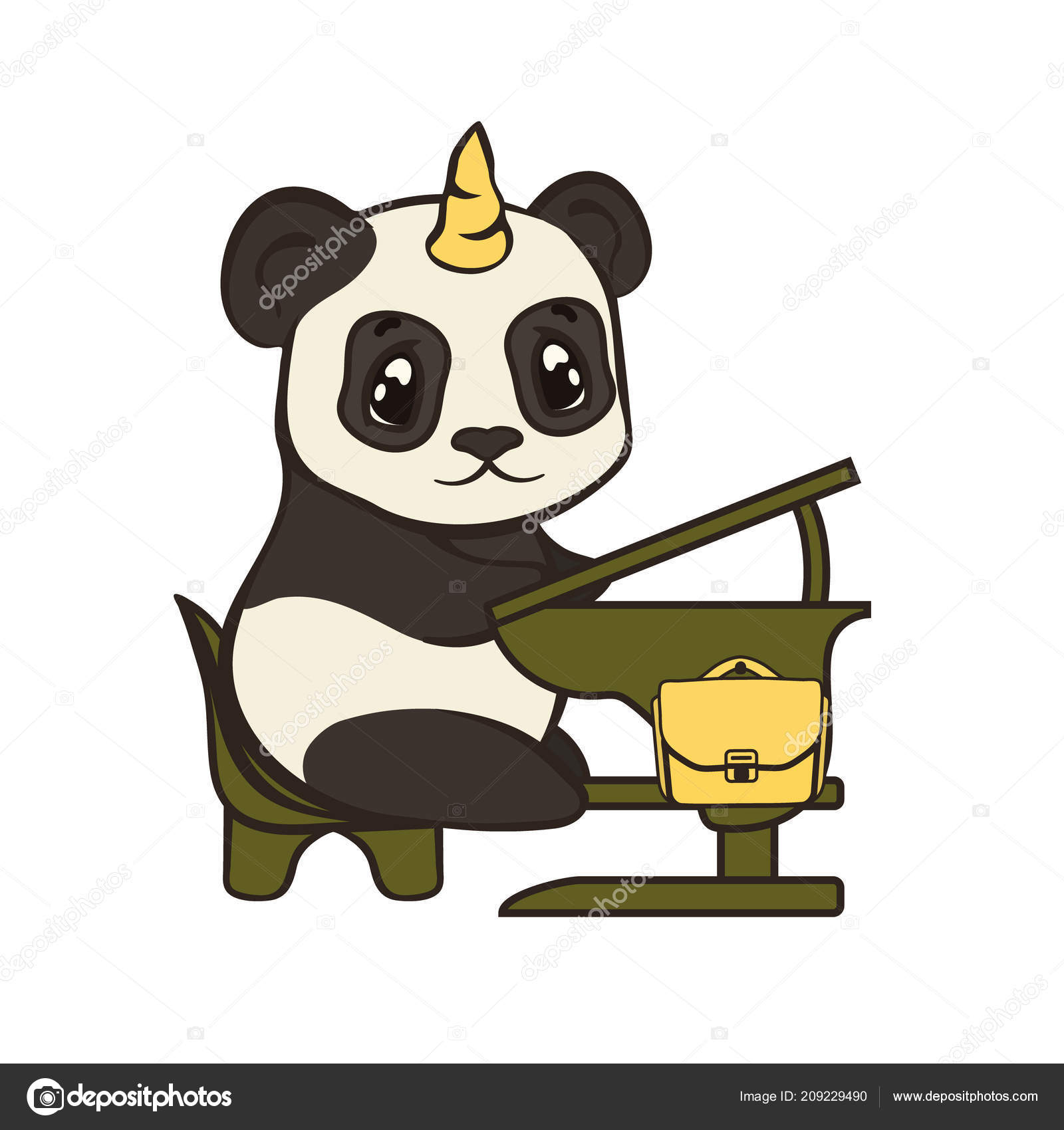 c52f0558d78159 Niedlicher Panda Bär Charakter Mit Einhorn Horn Sitzt Schulbank Zurück —  Stockvektor