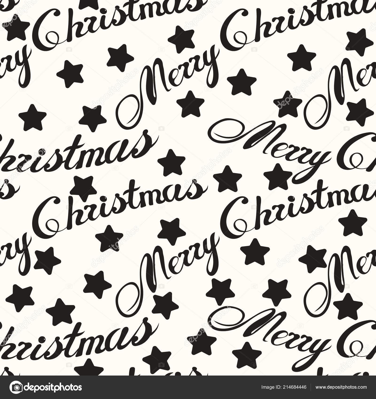 Feliz Natal Frase Sem Costura Padrão Isolado Mão Desenhada