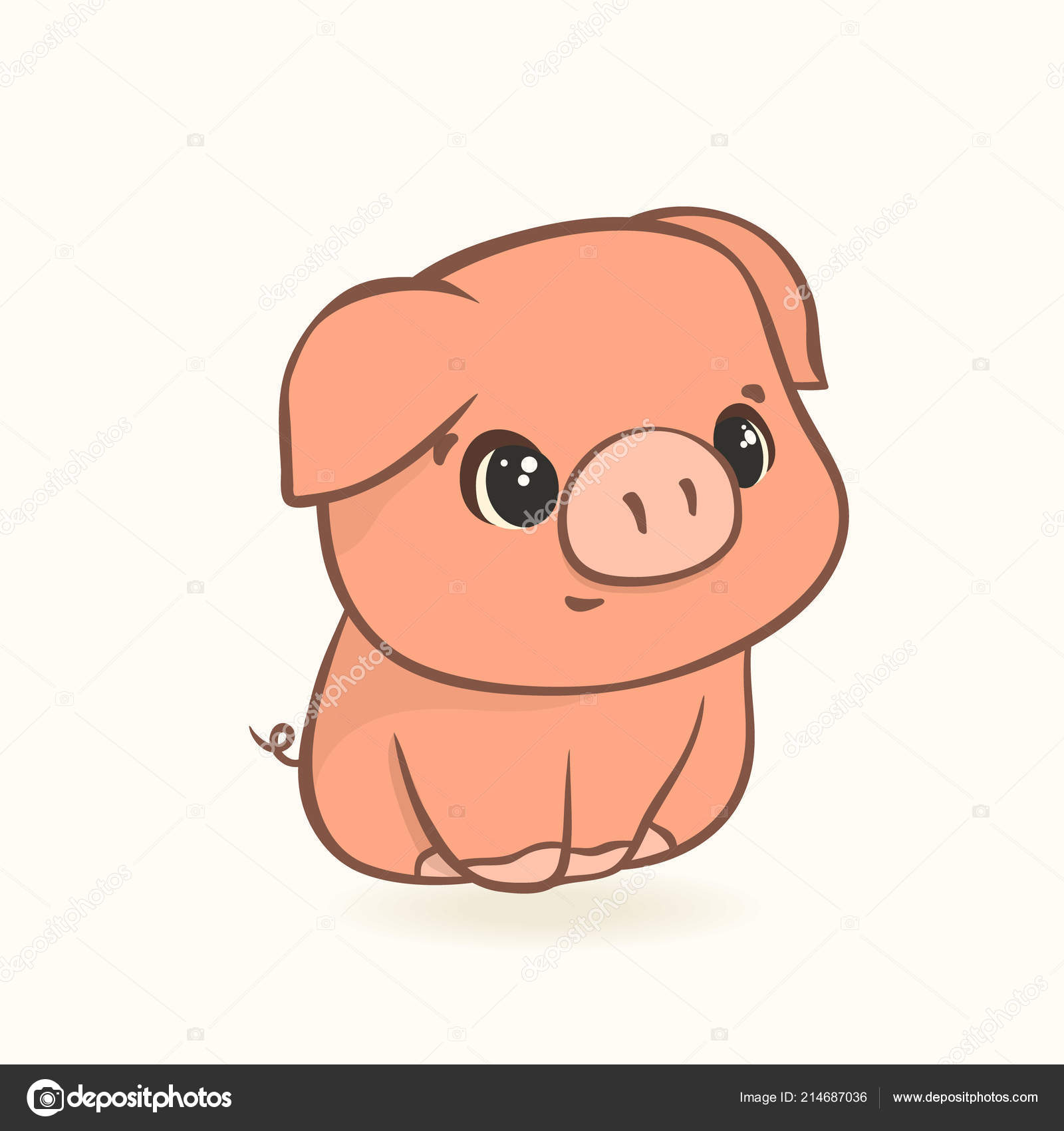 Cute Funny Pig Cartoon Style Isolated White Background Piggy Cartoon Vector Image By C Anna 1161 Vector Stock 214687036