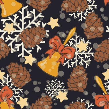 Jingle bells with red ribbon and cone seamless vector pattern. Merry Christmas mood Happy New Year design. Golden Christmas bell, stars. Xmas repeated print wrapper, texture, greeting card, invitation.