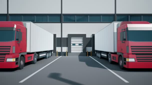 Camera dolly moves near Euro semi trucks during unloading of cargo through docks to warehouse. Low poly graphics 4K 60 fps loopable animation.