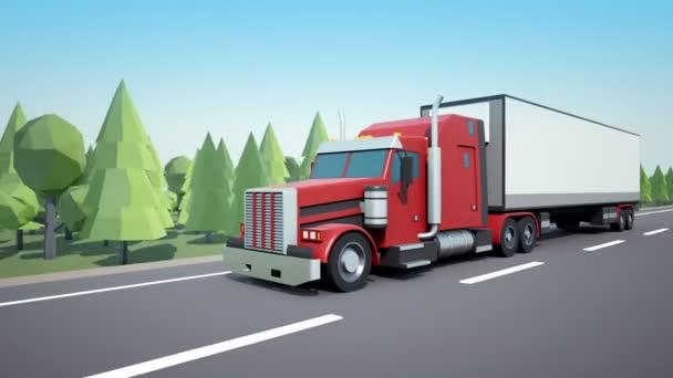 Přední kamera následuje americký semi truck nákladní přívěs jízdy na dálnici. Nízké poly grafika 4k 60 fps loopable animace.