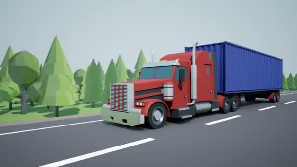 Die Frontkamera verfolgt einen amerikanischen Sattelschlepper mit 40 Fuß Container, der auf einen Ladeanhänger geladen wird und auf der Autobahn fährt. Low-Poly-Grafik 4k 60 fps loopable Animation.