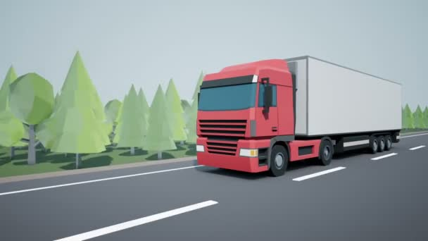 Front view camera follows euro semi truck with cargo trailer driving on highway. Low poly graphics 4K 60 fps loopable animation.
