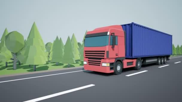 Die Frontkamera verfolgt einen Sattelschlepper mit 40-Fuß-Container, der auf einem Ladeanhänger geladen ist und auf der Autobahn fährt. Low-Poly-Grafik 4k 60 fps loopable Animation.