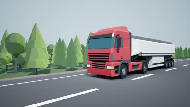 Die Frontkamera begleitet Euro-Sattelschlepper mit Benzin- oder Öltank auf dem Ladeanhänger und auf der Autobahn. Low-Poly-Grafik 4k 60 fps loopable Animation.