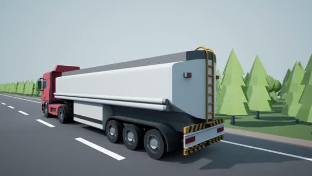 Zadní parkovací kamera sleduje euro benzín nebo ropný tanker truck a jízdy na dálnici. Nízké poly grafika 4k 60 fps loopable animace.