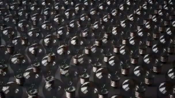 Žárovky se začnou svítí mezi řadou skleněné žárovky. Hledání řešení nebo nápad. 60 fps animace