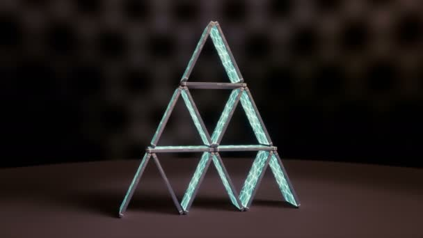 House of cards made of smart phones. Neural network on screens. Symbol of the instability of artificial intelligence. 60 fps animation.