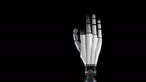Futuristic cyborg robotic arm during test action  Metal shines  Black  background  60 fps animation