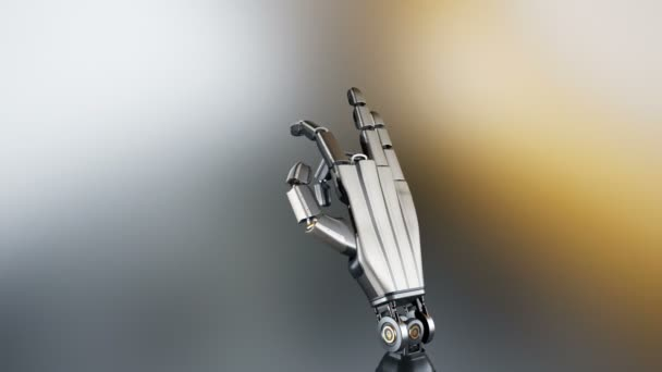 Cyborg robotic arm during test action  Metal shines, abstract dark  background, 60 fps animation