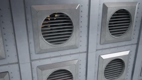 Egységek ipari szellőztető rendszer, rajongók forgatás közben. Kültéri vagy beltéri hűtés vagy fűtés folyamat. 60 fps zökkenőmentes animáció.