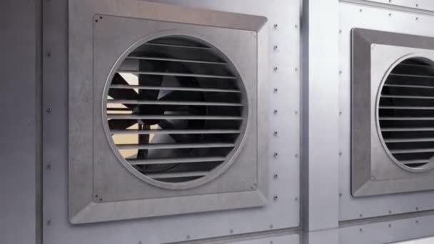 Mnohé průmyslové ventilátory během rotace. Klimatizační systém. Vnitřní nebo venkovní chlazení nebo ohřívání. Kamera-zmenšit, 60 fps animace