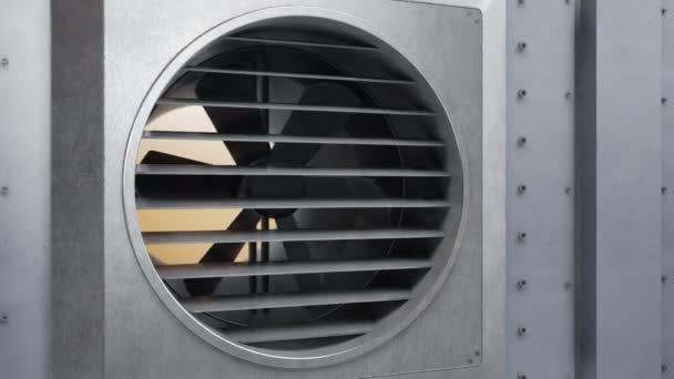 Das Lüftungssystem beginnt zu funktionieren und der Ventilator dreht sich. Wiederaufnahme der Arbeit des Heiz- oder Kühlsystems. 60 fps Animation.