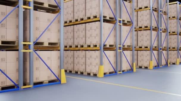 Sárga metall polcok, a belső modern raktár karton dobozok Raklap. 60 fps-animáció.