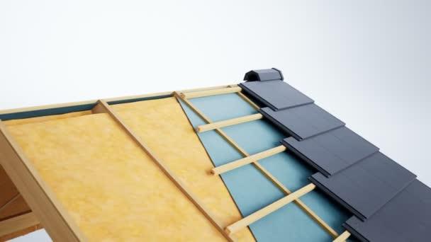 Technické žaket střešní konstrukce, konstruktivní a technologické vrstvy, tmavě šedá dlažba. 60 fps animace.