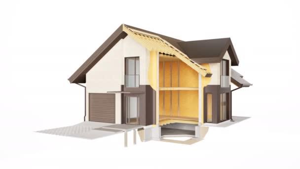 Az épület műszaki szakasza, a falak, a tető és a szigetelés látható szerkezete. 60 fps-animáció.