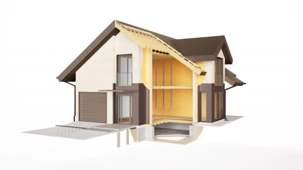 Technische Entfernung des Hauses, sichtbare Konstruktion von Wänden, Dach und Dämmung. 60 fps Animation.