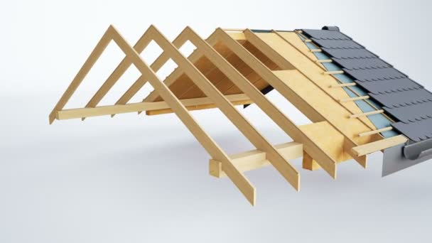 Technical cutaway of roof, visible design and insulation. Grey fish tiles. 60 fps animation.
