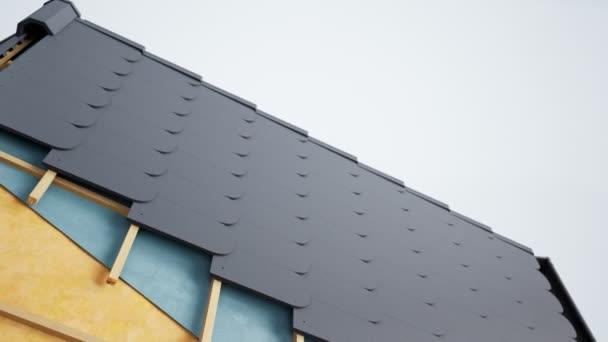 Technická část střechy, viditelný design a izolace. Šedé rybí dlaždice. animace 60 fps.