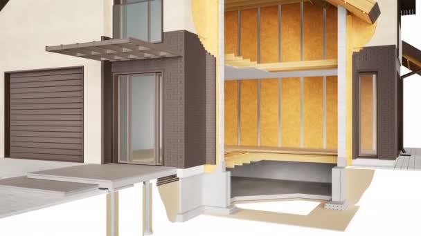 Hausdurchsuchung. sichtbare Strukturen, Innenraum und Isolierung. Braune Ziegel. 60 fps Animation.