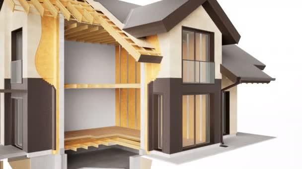Illustration des Schnitts von Häuserwänden. sichtbare Struktur, Oberflächen und Isolierung. Braune Ziegel. 60 fps Animation.